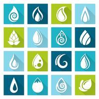 Conjunto de ícones de gotas de água vetor