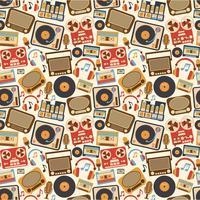 Padrão sem emenda retrô de música vetor