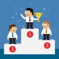 Funcionários da vida empresarial no pódio de vencedores