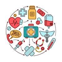 Conceito de ícones médicos