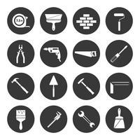 Construtor de instrumentos ícones pretos vetor
