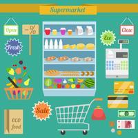 Conjunto plano de supermercado vetor