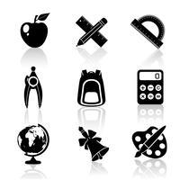 Conjunto de ícones de escola preto