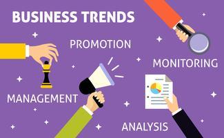 Mãos de tendências de negócios