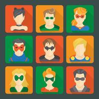 Conjunto de adesivos de super-heróis vetor