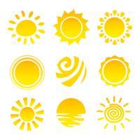 Conjunto de ícones do sol vetor