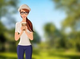 Mulher, com, copo café, retrato