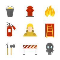 Ícones de combate a incêndios planas vetor