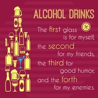 Cartaz de álcool com ícones de garrafa vetor