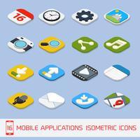 Ícones isométricos de aplicativos móveis