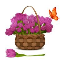 Tulipa flores na cesta vetor