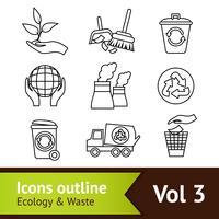 Contorno de conjunto de ícones de ecologia