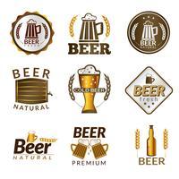 Emblemas de cerveja dourada