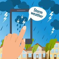 Tempestade de telefone inteligente do tempo vetor