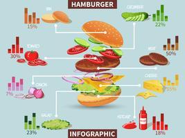 Infográfico de ingredientes de hambúrguer vetor