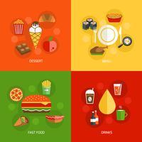 Composição de alimentos plana vetor