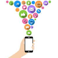 Mão segure o telefone com ícones