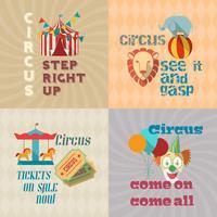 Composição de pictogramas plana vintage de circo vetor