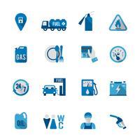 Conjunto de ícone de estação de combustível