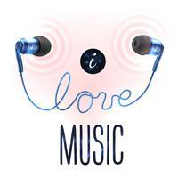 Fones de ouvido com cartas de amor