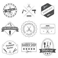 Conjunto de etiqueta de cabeleireiro vetor