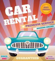 Cartaz retro de aluguel de carros