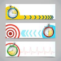 Banners de cronômetro horizontais vetor