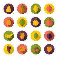 Jogo, de, frutas, ícones vetor
