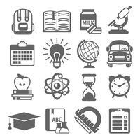 Ícones de educação preto e branco