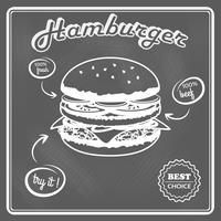 Cartaz retrô de hambúrguer vetor