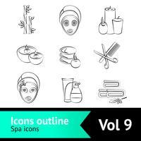 Conjunto de ícones de spa de contorno