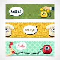 Banners de telefone antigo horizontais vetor