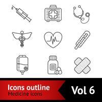 Conjunto de ícones de medicina vetor