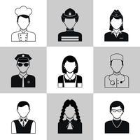 Conjunto de ícones de avatar preto