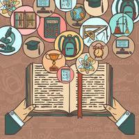 Ícones de esboço de livro e educação