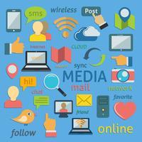 Composição de ícones de redes sociais