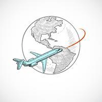 Globo de ícones de aeronaves vetor