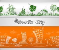 Cidade doodle fronteira sem emenda