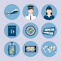 Conjunto de ícones de companhia aérea vetor