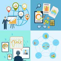 Composição plana do ícone de gráfico de negócios