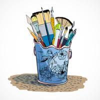 Esboço de suporte de ferramentas de desenho vetor