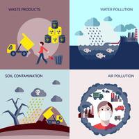 Conjunto de ícones plana de poluição