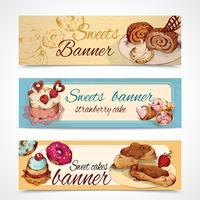 Banners coloridos de doces vetor