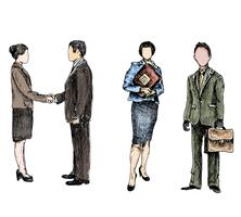 Esboço de pessoas de negócios colorido vetor