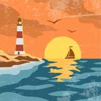 Cartaz retro do mar vetor