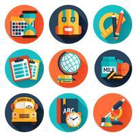 Conjunto de ícones plana de educação