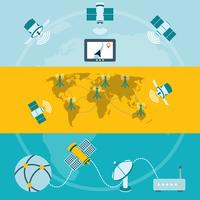 Banners horizontais de ícones de satélite