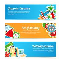 Conjunto de bandeiras de férias vetor