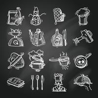 Esboço de ícones de cozinha
