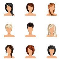 Conjunto de estilo de cabelo de menina vetor